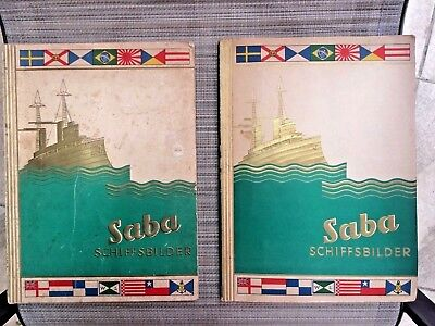 2 SABA SHIP ID BOOKS w/~500 TOBACCO CIGARETTE CARDS GERMAN & FOREIGN FLEETS 1935