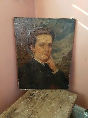Old 19th century ,antique oil portrait of a lady