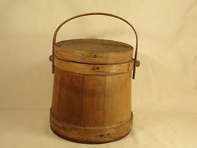 Antique Wood Bucket Pail Firkin Style Farm Primitive AAFA Sugar Pantry Bucket