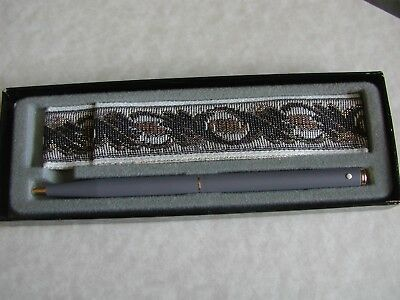 NEW Vintage Ladies Sheaffer White Dot Ball Point Grey Pen w/ Tapestry Pouch Box