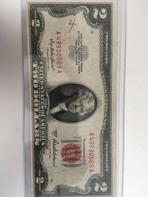Red Seal 1953 Series $2 Two Dollar Bill Monticello Note Vintage Jefferson Old
