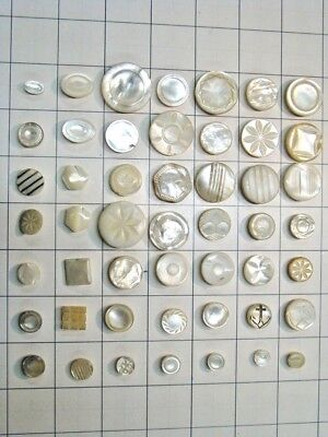 49 Carved Mother of Pearl Vintage Buttons, metal and self shank