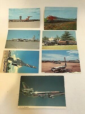 Vintage postcards/ Trains and Planes, and one missile! Lot of 7+1 extra