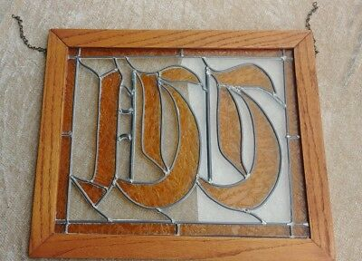 "Vintage Antique Stained Glass ""W"" Hanging Window/Sign Amber Rare"