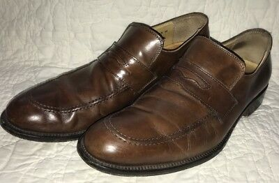 e087c9f12f7 Mercanti Fiorentini Men s Brown Leather Penny Loafers Shoes Sz 10M Made In  Italy