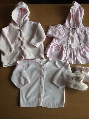 6-9 Months Baby Girl Bundle Pink Cardigans Next Jacket Boots Fur Bows Jumpers