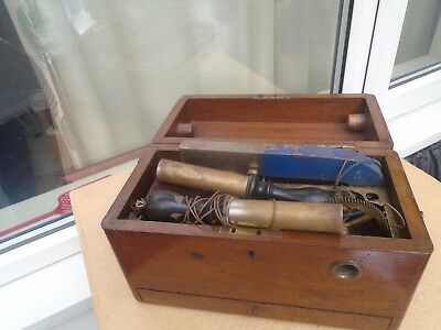 interesting Victorian electric shock machine in wooden box  BYGONE DISPLAY CURIO