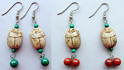 Egyptian Vintage Scarab Earrings with Gen. Beads - Hand Crafted