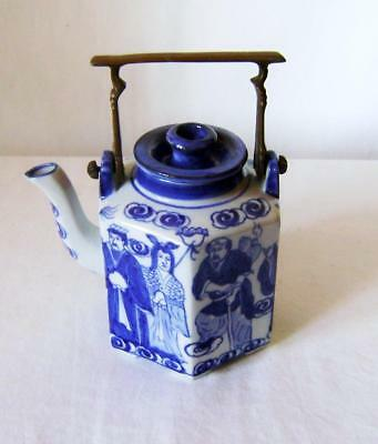 Unusual Chinese Hexagonal Teapot with Figural Decoration & Brass Handle