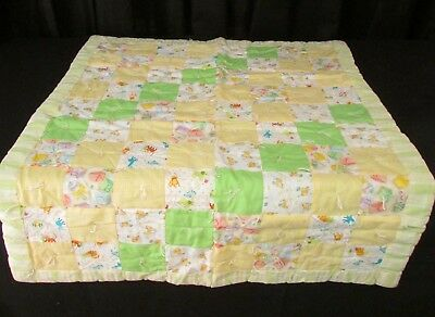 Handmade Baby Patchwork Quilt Crib Lap Blanket  Green Yellow gingham