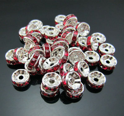 Crystal Spacer Material Rondelle LOT Beads Jewelry 8mm Red FREE / Making 100PCS