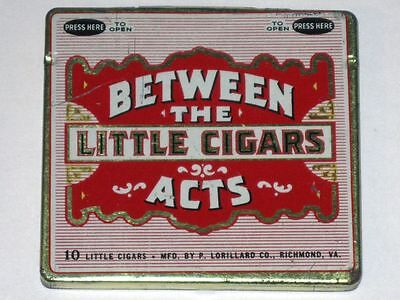 Antique BETWEEN the ACTS Little CIGARS Hinged Advertising Tin! P. LORILLARD Co.