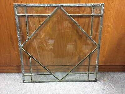 "Antique Salvage Leaded Beveled And Textured 17Pc Glass Window 19 1/2"" X 19 1/2"""