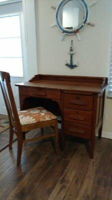 Vintage Tiger Oak Desk and Chair