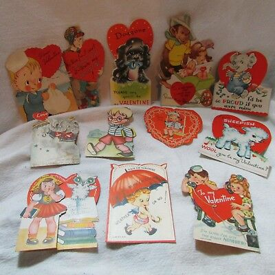 Vintage 1950s Lot of 12 Valentine Greeting Cards, Sailor, Monkey, Elephant LOT 6