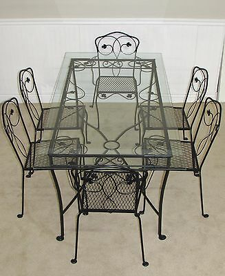 Vintage Mid Century Salterini Wrought Iron Patio Set, Glass Top Table, 6  Chairs
