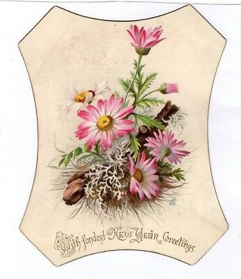 1800's Victorian - New Year Greetings Diecut Card - Selling Lot Of Cards