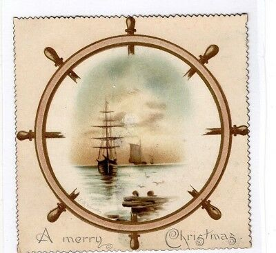 1800'S VICTORIAN CARD - TUCK'S A MERRY CHRISTMAS w SHIPS  - SELLING LOT OF CARDS