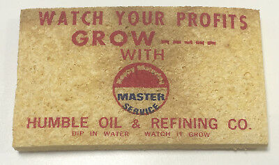 Vintage Humble Oil & Refining Advertising Sponge Watch Your Profits Grow