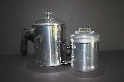 Vintage Aluminum Perculator Coffee Pots 2-cup and 9-cup (Lot of 2) Chiltonware