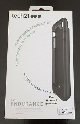 tech21 EVO Endurance for iPhone 6/6s Smokey Black Battery Case 1800 mAh New