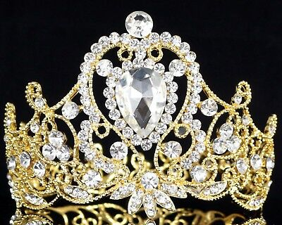 Princess Crystal Rhinestone Womens Girl's Hair Tiara Crown Gold Prom Bridal T87g