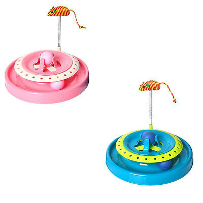 Cat Toy New Crazy Play Interactive Fun Game Spring Mouse Moving Ball Round Disk