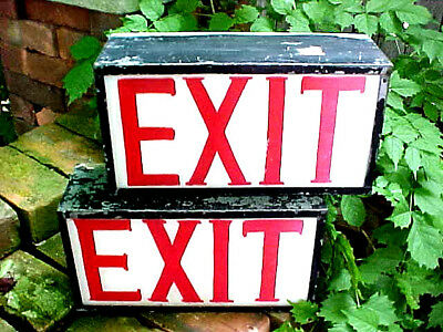 { 2 } Antique Detroit Exit Sign Fort Shelby Hotel Architectural Steampunk  Deco