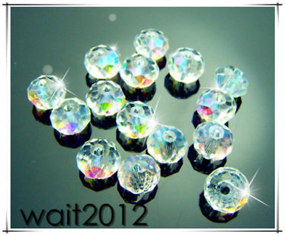 #5040 8mm Free crystal TOP Beads AB Charms Rondelle Spacer Lot 50PCS Clear