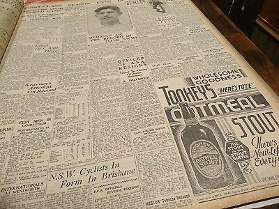 old newspaper full page Tooheys Beer  advert 1937  Ross Gregory cricket