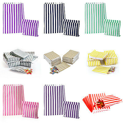 STRIPED CANDY PAPER BAGS FOR SWEET FLAVOUR BUFFET 10-25-50-100/pack, 2 SIZES