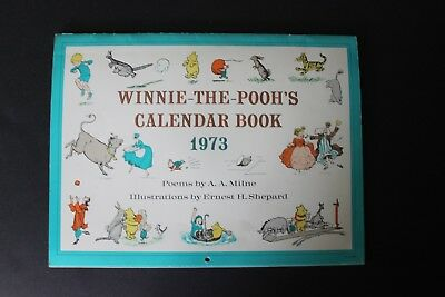 Vintage 1973 Winnie-The-Pooh's Calendar Book with Poems and Illustrations