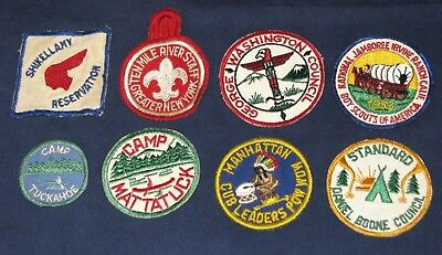 Vintage Boy Scouts 1940-50s Camp Tuckahoe Mattatuck Daniel Boone Group 8 Patches