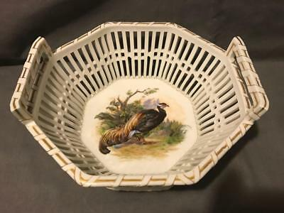 """KPM Berlin 2nd Quality Mold 8.75"""" Outstanding Pheasant Decor Reticulated Basket"""