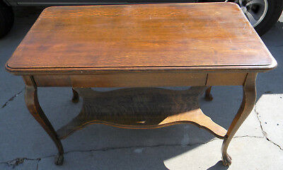 Antique Claw Foot Oak Library Table