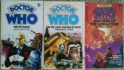 Dr Doctor Who Target Books The Daleks & Dalek Invasion of Earth + Find Your Fate