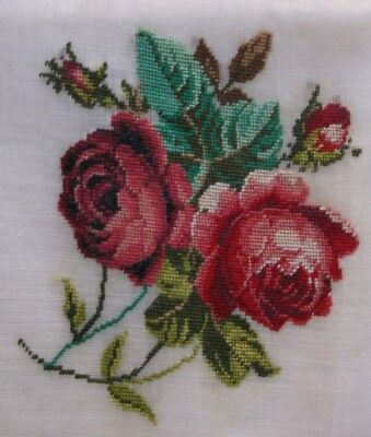 Antique petit point embroidery needlepoint needle work handkerchief Roses vtg
