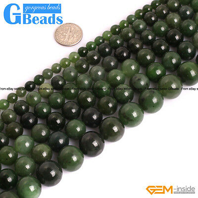 "Natural AAA Grade Green Canadian Jadeite Jade Gemstone Loose Round Beads 15"" GB"