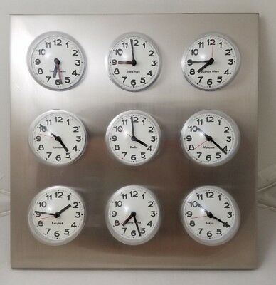 Vintage Stainless Steel 9 City World Time Zone Bubble Dome Clock