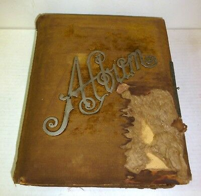 1880s old photo album, 43 cabinet cards, tintypes; Lansing, Howell, Michigan