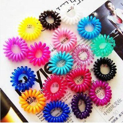 10 pcs Hair Ties Gel Stretch Plastic Band Coil Spiral Phone Cord Scrunchies Girl