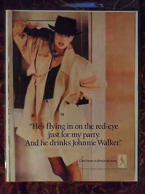 1989 Print Ad Johnnie Walker Whiskey ~ GIRL TALK 'He's Flying in on the RED-EYE'