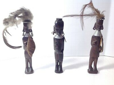 Lot of 3 Wood Vintage African Hand Carved Figurines