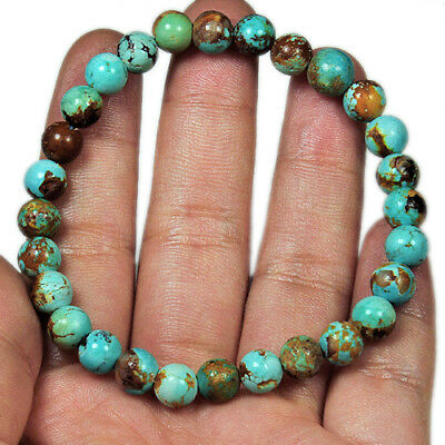 64.6Ct Antique Intact BISBEE Turquoise 100% Natural Round Bracelet UCYB163