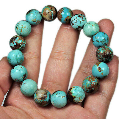 191.4Ct Antique Intact BISBEE Turquoise 100% Natural Round Bracelet UCYB166