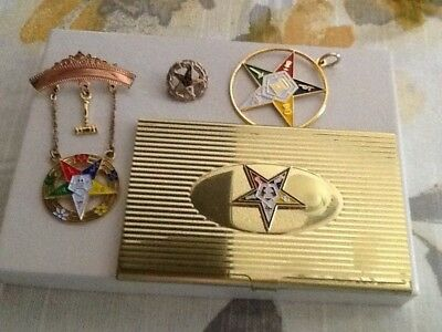 Order Of The Eastern Star Lot Card Case Pins & Pendant Free Shipping