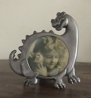 """Dinosaur Tabletop Picture Frame, Approx. 5""""x5"""" & Holds 3""""x3"""" Round Photo"""
