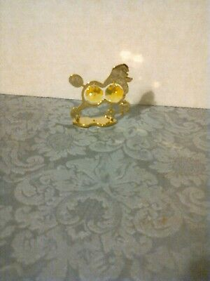 24K Gold Plated Poodle Figurine With Yellow Austrian Crystals