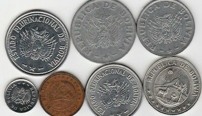 7 different world coins from Bolivia