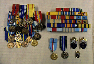 #93. US Army & California National guard miniature medal bar & more.